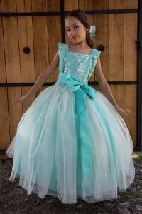 cute little girl on her party dress